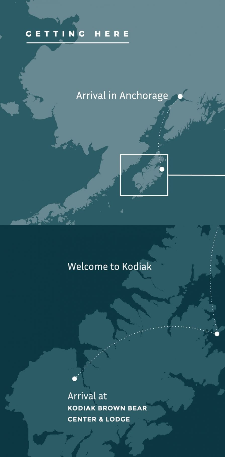 Getting to Kodiak map